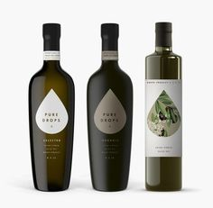 Pure Drops packaging designed by Bob Studio. Pure Drops packaging designed by Bob Studio. Olive Oil Packaging, Cool Packaging, Bottle Packaging, Brand Packaging, Olive Oil Brands, Olive Oils, Olive Oil Bottles, Alcohol Bottles, Packaging Design Inspiration