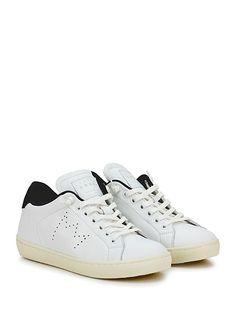 Leather Crown - Sneakers - Donna - Sneaker in pelle con suola in gomma. Tacco 30, platform 20 con battuta 10. - BIANCO\NERO