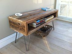 Industrial wood & steel coffee table or TV/media stand, reclaimed barnwood with hairpin legs. via Etsy