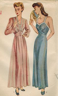 1940s Simplicity Vintage Sewing Pattern Misses' Nightgown and Negligee