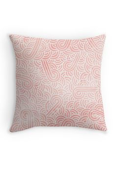 """Rose quartz and white swirls doodles"" Throw Pillow by Savousepate on Redbubble #throwpillow #homedecor #pattern #abstract #pastel #pink #coral #salmon #rosequartz"