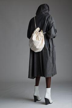 Vintage Issey Miyake Gray Parka and Fendi Drawstring Bag. Designer Clothing Dark Minimal Street Style Fashion