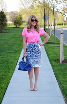 Navy & white baroque skirt colorblocked with pink