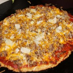 Pork rind pizza crust! Remember, no tomato sauce in the toppings there are two white sauces in the files. :)