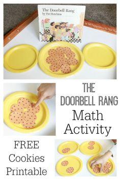 The Doorbell Rang math activity for Preschool or Kindergarten kids. A fun math activity your kids will love + free printable!