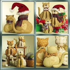 CAT FAMILY Sewing Pattern  Stuffed Cats in 3 Sizes. OOP & last one ~ SOLD!