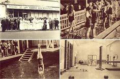 Piscine Molitor. Durant les années 30 le bassin d'été ne désemplissait pas. C'était un des endroits les plus à la mode de l'entre-deux guerres, on y organisait des représentations théâtrales ou des défilés de mode. En bas à gauche : plongeon de la championne olympique Aileen Riggin pendant son séjour aux piscines Auteuil-Molitor. En haut à droite : la salle de culture physique de Molitor, accessible à partir des deux bassins