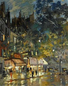 The artwork Café in Paris by night - Konstantin Alexejewitsch Korowin we deliver as art print on canvas, poster, plate or finest hand made paper. Old Paintings, Beautiful Paintings, Landscape Paintings, Modern Paintings, Landscapes, Russian Painting, Russian Art, Paris Painting, Cityscape Art