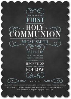 Rightfully Just: Boy - Communion Invitations in Peppermint or Stream | Elk Design