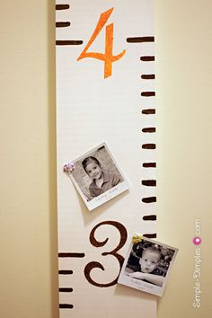 I love this growth chart, I've been wanting to buy or make one and had been thinking about a way to add photos at the height of the child.  I love the use of this Polaroid template for the pictures!