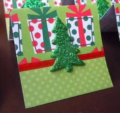Christmas Trees and Gifts Mini Cards or Gift Tags 2x2 (6) by PeculiarParchment on Etsy