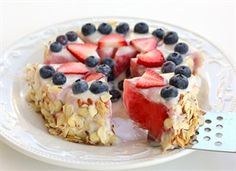 Healthy Watermelon Tart -- Light dessert made from watermelon, yogurt, berries & almonds.  Click for recipe :)
