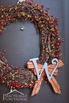 Fall is officially here! Get your entryway ready for the season with a gorgeous DIY monogram wreath made from a grapevine wreath form and faux berry garlands! Diy Fall Wreath, Wreath Crafts, Fall Diy, Fall Wreaths, Decor Crafts, Diy Crafts, Wreath Ideas, Creative Crafts, Door Wreaths