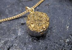 Gold Druzy Necklace by BrooklynCharm on Etsy, $22.00