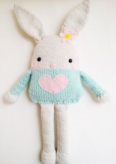 Bunny Knitting Pattern $6 on Etsy | This would be an adorable gift idea for the Easter Basket!