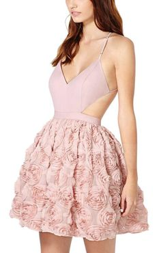 Pink Back Hollow-out Spaghetti Strap Sleeveless Chiffon Dress