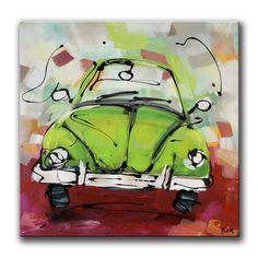 Vrolijke kever kunst Tableau Pop Art, Kids Art Class, Mixed Media Artwork, Painted Rocks, Watercolor Paintings, Abstract Art, Drawings, Beetles, Vw