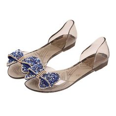 OMGard ™ Women Summer Jelly Diamond Ribbon Bow Flip Flops Thong Flat Sandals Shoes *** Read more reviews of the product by visiting the link on the image.
