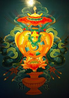 Eight Auspicious Symbols, wall mural, Tibetan Buddhist symbols; vase, flower, infinity knot, wheel, fish, banner, umbrella, shell, hotel, Boudha, Kathmandu, Nepal by Wonderlane, via Flickr