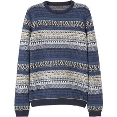 MANGO MAN Fair Isle Cotton-Blend Sweater (€63) ❤ liked on Polyvore featuring men's fashion, men's clothing, men's sweaters, mens cable knit sweater, mens cable sweater and mens fair isle sweater