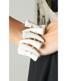 Chunky Horn Bracelet  https://shoplately.com/product/154817/chunky_horn_bracelet#.Umms5PmkpeM  #bracelet #horn #white #accessories #jewelry #shoplately