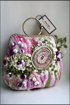 3D Felted Floral Bag