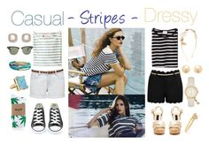"""""""Stripes: Casual & Dressy Outfit"""" by shehanisamara ❤ liked on Polyvore featuring Edith A. Miller, Forever New, Mollusk, Converse, Ray-Ban, HUF and ABS by Allen Schwartz"""