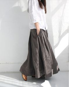 Gray Large Sweep A line Linen Side Pockets Dresses Elastic Waist Summer Women Plus Size Linen Skirt  /Custom Made/ 13-A11