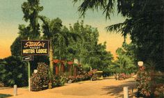 "Steel's Valley Motor Lodge, Sherman Oaks, California, circa 1930s. Verso reads, ""13949 Ventura Blvd. Telephone ST 4-9077. On route 101 in the Heart of the famous San Fernando Valley, ten minutes from Hollywood. Modern Spanish type units in a spacious setting of flowers and trees. Quiet atmosphere and modern comforts with restful surroundings. Assorted collection of cafes and restaurants nearby. Your reservation or inquiry cordially invited."" San Fernando Valley History Digital Library."