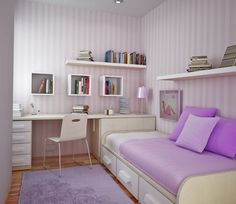 beauteous-grey-white-striped-wallpaper-of-small-kids-bedroom-design-featuring-wooden-study-desk-connected-with-single-bed-which-has-three-storage-drawers-underneath-as-well-as-purple-rug.jpg (1280×1111)