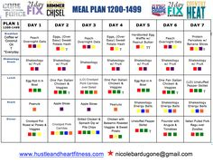 Weekly Meal Plan, 21 Day Fix, Core De Force, Country Heat, Hard Corps or Hammer & Chisel