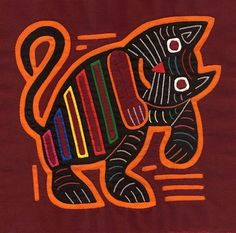 Very Expressive Mola Cat / Stellar Hand Stitched Kuna Indian Reverse Applique