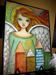 Charity auction donation Mixed media angel - pyrography