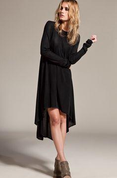 black dress + heels + bed hair