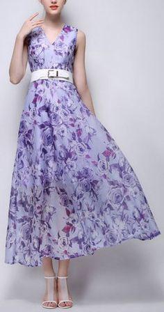 Purple Floral Leaves Print V Neck Maxi Dress And Belt