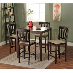 "Metropolitan Counter Height 5-Piece Dining Set, Espresso $269  35.5""L x 35.5""W x 36""H"