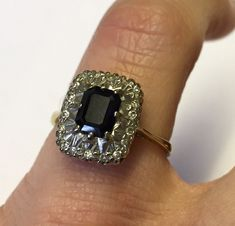 18ct yellow/ White gold Sapphire and Diamond cluster ring