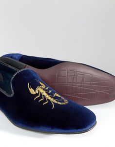 Image 4 of ASOS Loafers In Navy Velvet With Scorpian Embroidery