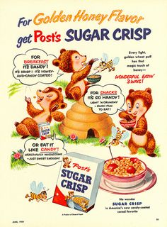 A fabulously cute Post's Sugar Crisp cereal ad from 1954.