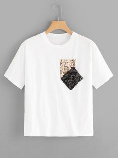 Simple Round Neck Sequins Double Pocket Short Sleeve Cotton T-Shirt, Fashion Style Tees & Tanks Diy Camisa, Latest T Shirt, Sequin Fabric, Shorts With Pockets, Printed Tees, Diy Clothes, Half Sleeves, Shirt Designs, Sequins