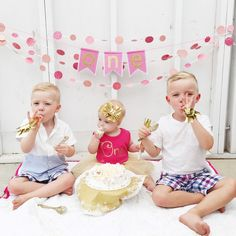 Sylvie's First Birthday Cake Smash with her brothers: Pink & gold confetti
