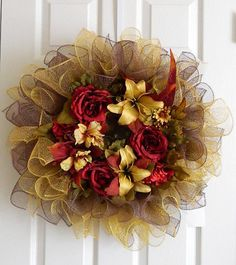 Rose and lily mesh wreath by BellaFrog on Etsy, $39.00