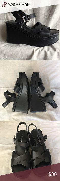90's platform leather sandals Super condition. Real leather upper platform sandals.  Some wrinkles on the foam sole as pictured. candies Shoes Platforms