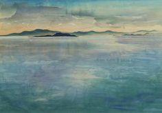 Before the Rain. Mono Lake, High Sierras, woodcut print, Chiura Obata. c 1930.