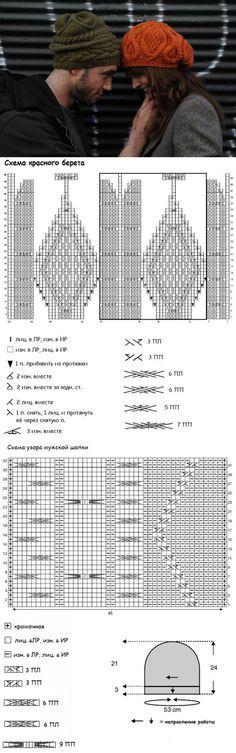 Женский берет и мужская шапка вязаные спицами | Strikky.ru | вязание | Постила