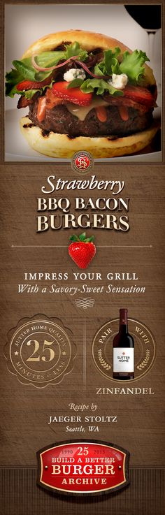 These savory-sweet Strawberry BBQ Bacon Burgers took the Grand Prize in our 2010 Sutter Home #BuildABetterBurger Recipe Contest. Prepared in 25 minutes or less, every bite is even better with Sutter Home Zinfandel.