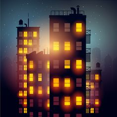 Brightly lit midnight city vector background 04