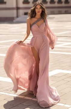 Tarik Ediz - 93854 One Shoulder Beaded V Neck High Slit Chiffon Gown – Couture Candy Elegant Dresses, Pretty Dresses, Beautiful Dresses, Prom Dresses, Formal Dresses, Wedding Dresses, Mode Shoes, Chiffon Gown, Flowy Gown