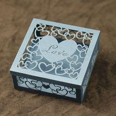 Sapphire Blue Iridescent Paper DIY Handcraft Freely Engraved Love Letter Paper Sculpture Model Festival/Birthday Mini Delicate Gift Box