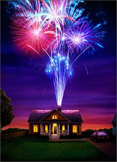House With Fireworks (1 card/1 envelope) - Anniversary CardINSIDE:The spark's still there! Happy Anniversary
